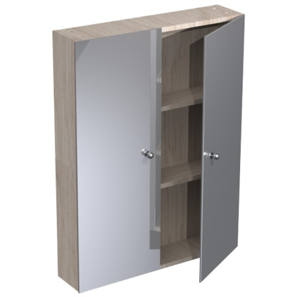 atlanta 700mm slimline tall wall mirrored unit white