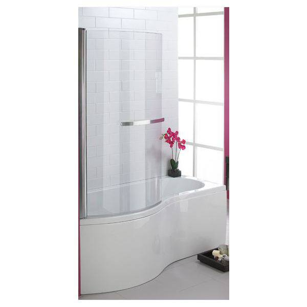 curved shower screen 5mm 1500x770mm polished silver