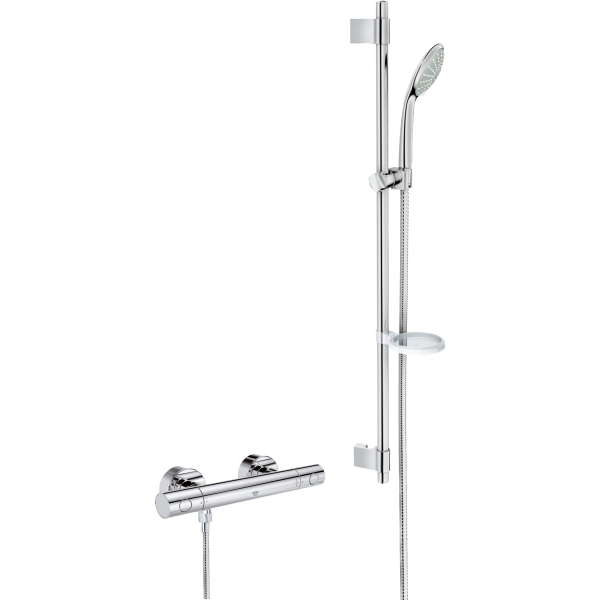 grohe grohtherm thermostatic shower 1000 cosmo 900mm chrome. Black Bedroom Furniture Sets. Home Design Ideas
