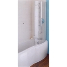 Ideal Standard Alto Curved Bath Shower Screen 800mm Clear Glass Chrome