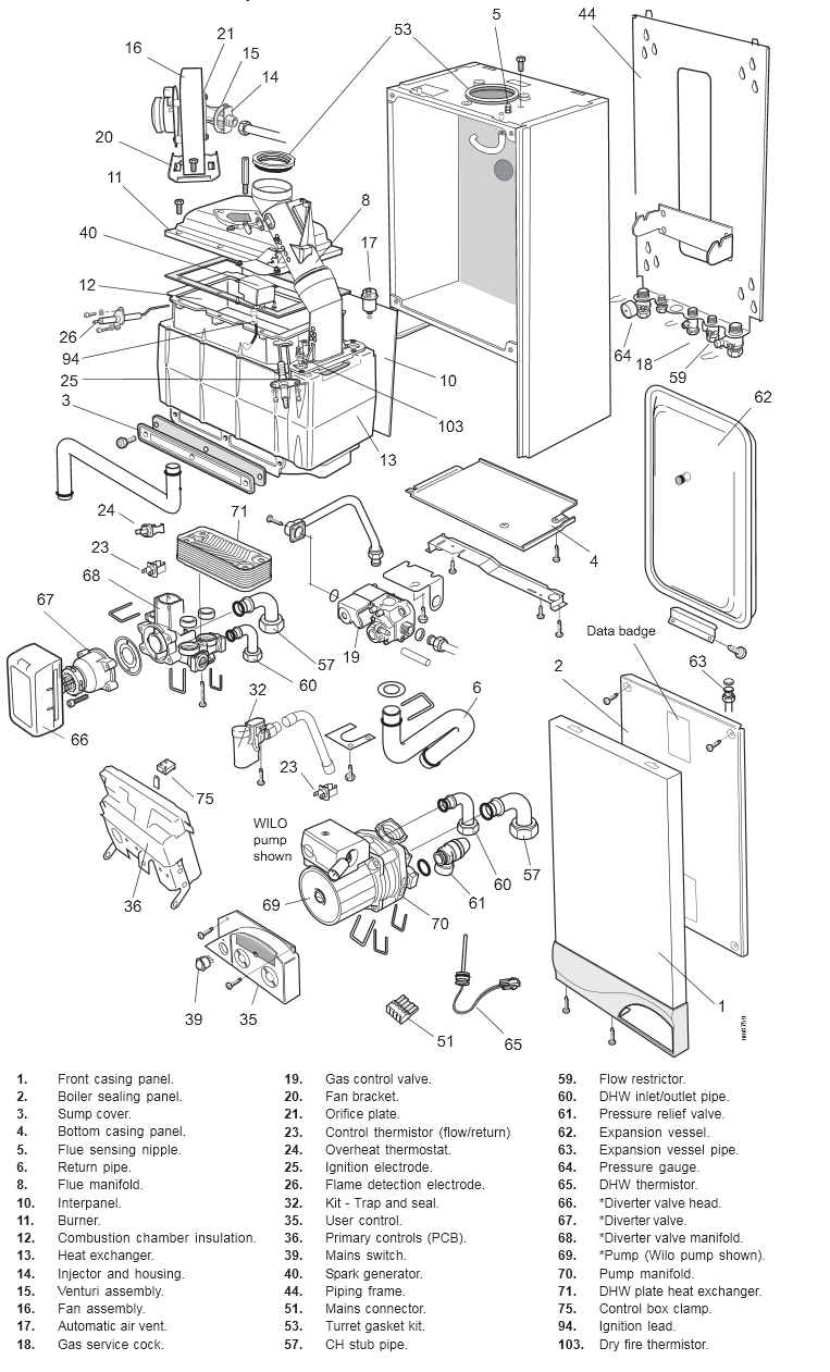 boiler parts  vaillant boiler parts diagram