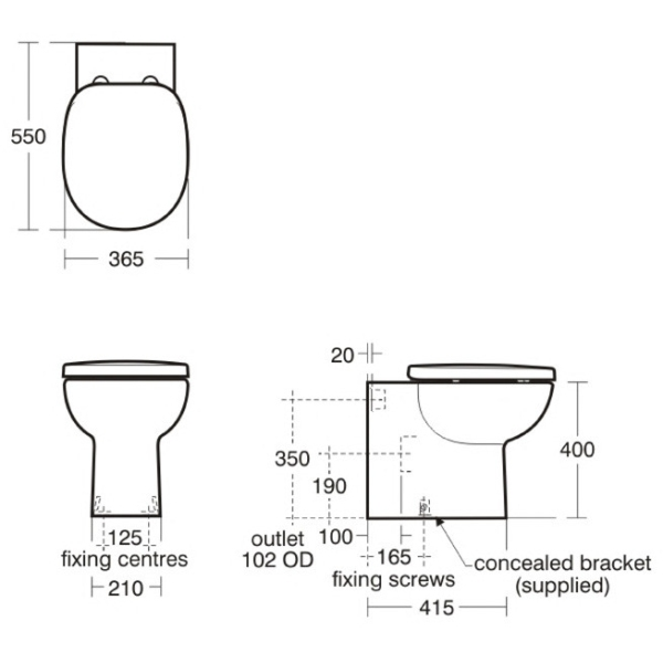 ideal standard concept  new studio back to wall wc pan