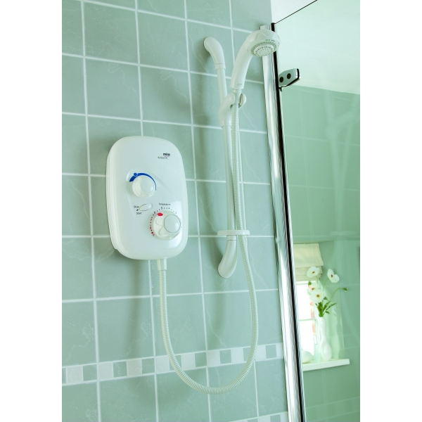 mira event xs thermostatic power shower white chrome. Black Bedroom Furniture Sets. Home Design Ideas