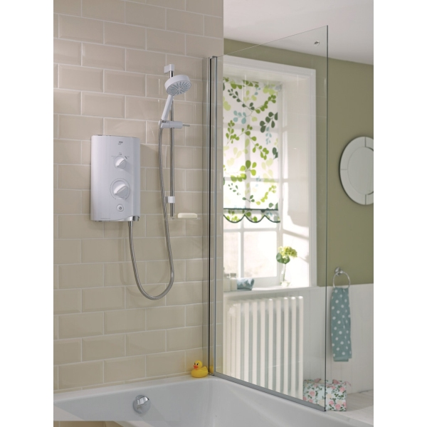 mira sport thermostatic electric shower white chrome. Black Bedroom Furniture Sets. Home Design Ideas