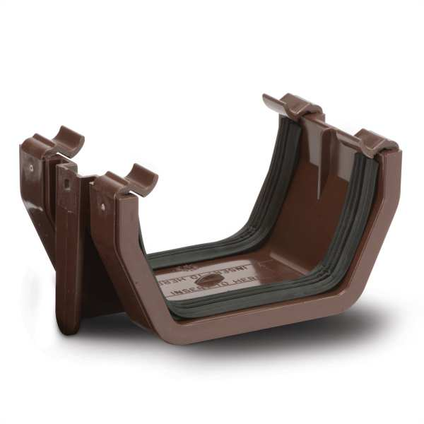Polypipe 112mm Square Gutter Union Bracket Brown