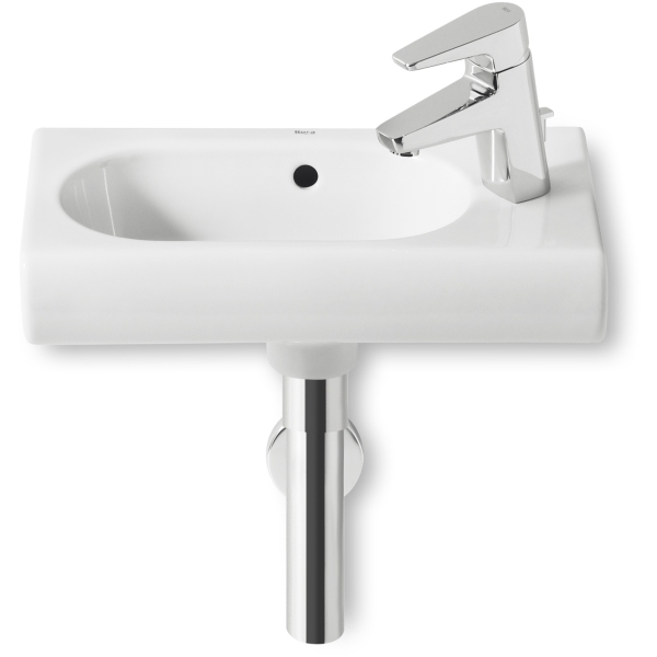 Roca meridian compact cloakroom basin 1 tap hole white for Roca cloakroom basin