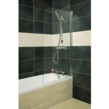 Roman Haven Bath Screen Single Panel Curved Screen With Curved Edge Chrome