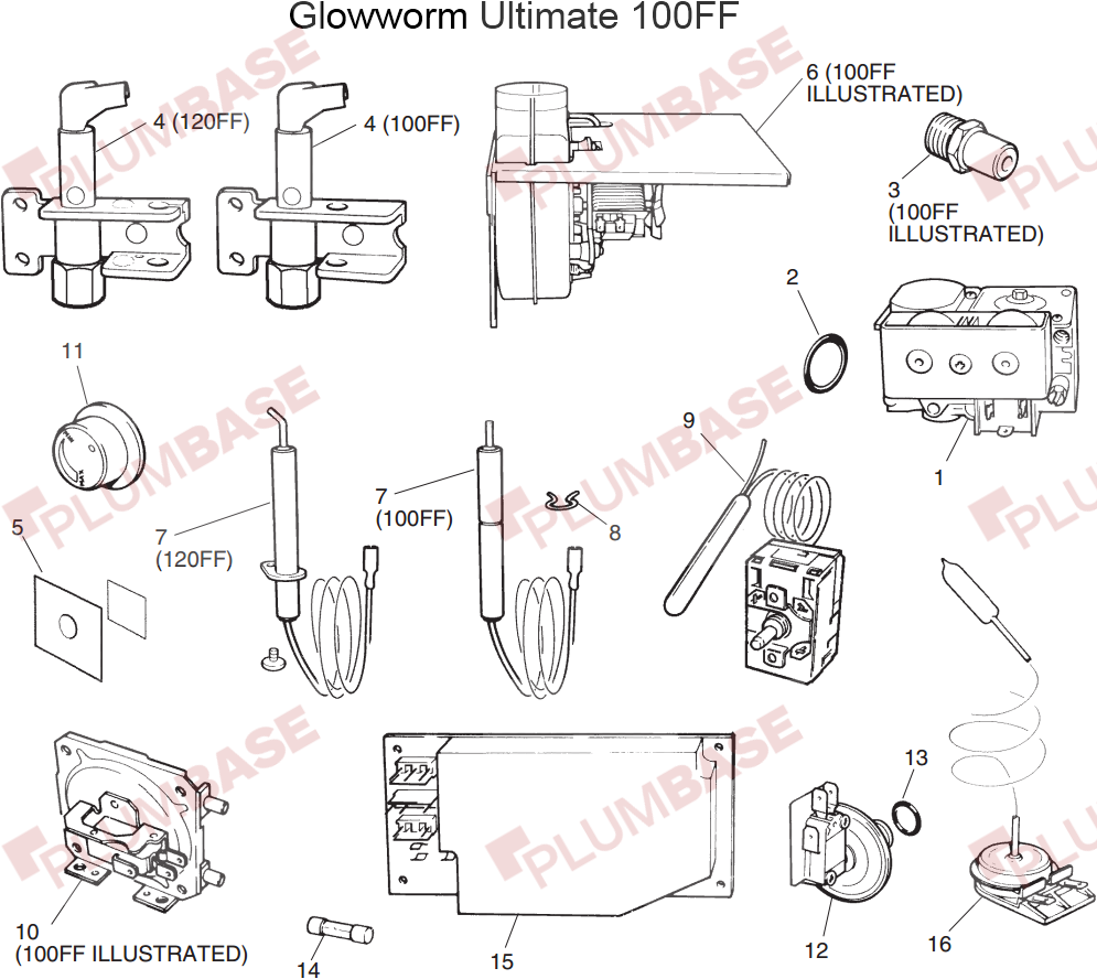 Glowworm Ultimate 120ff Exploded Views And Parts List Printed Circuit Board Main 1 Fuse 5 Wire S900817 Diagram
