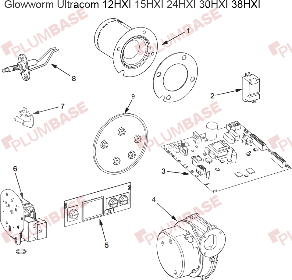 Glowworm Ultracom 12HXI exploded views and parts list