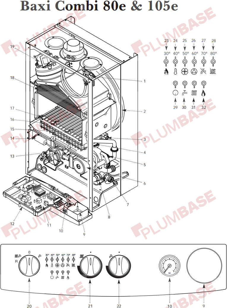 03549414N 7 baxi combi 105e exploded views and parts list Honeywell Thermostat Wiring Diagram at readyjetset.co
