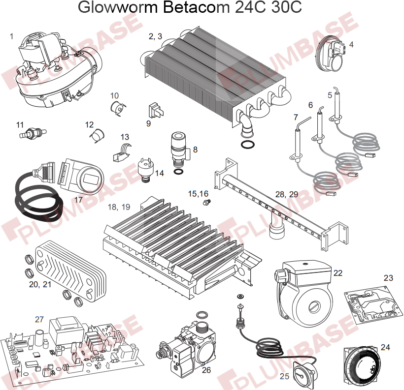 Glowworm Betacom 30C exploded views and parts list
