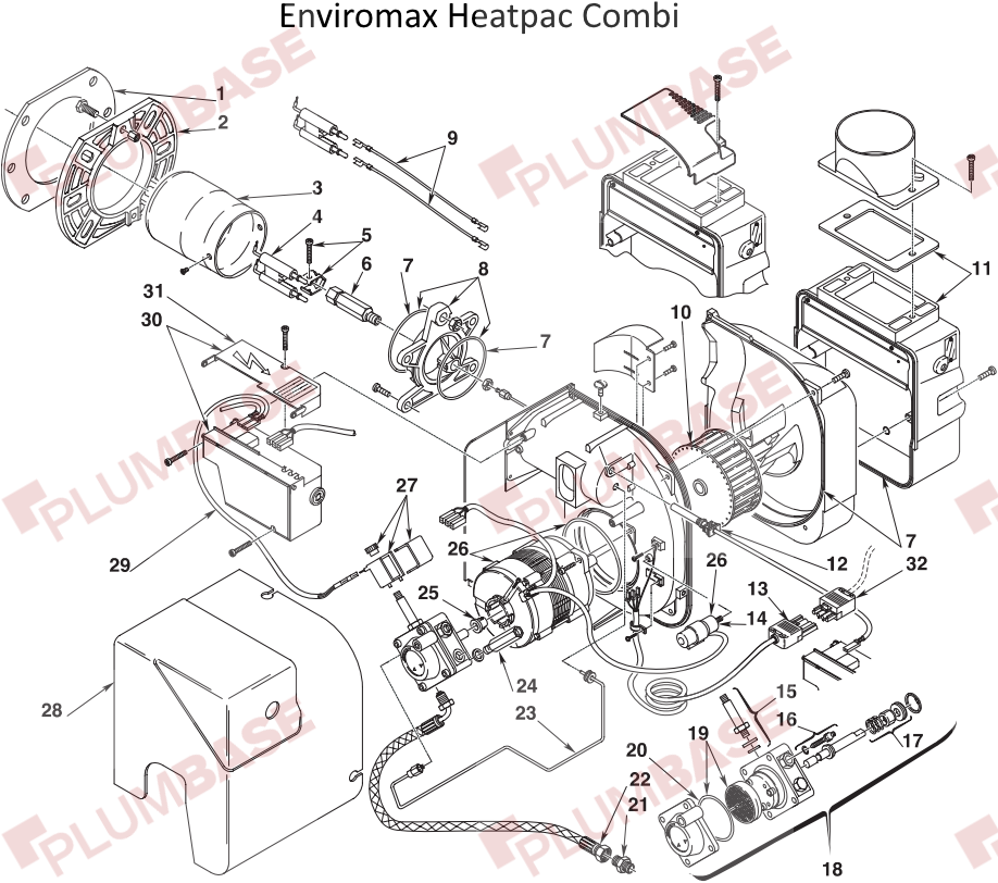 Firebird Enviromax Heatpac Combi C26 exploded views and parts list
