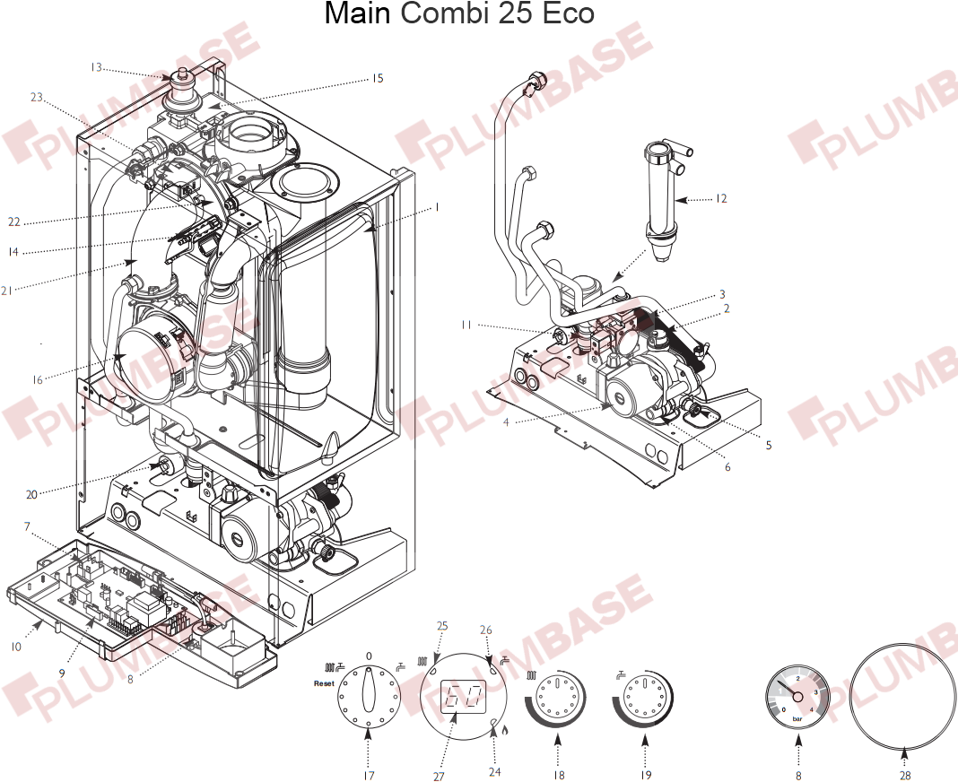 Main Combi 25 Eco exploded views and parts list