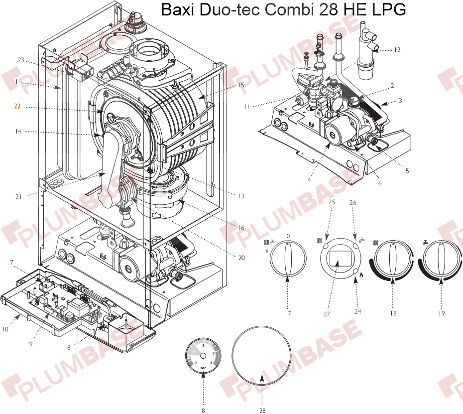 Baxi Duo Tec 28he Lpg Exploded Views And Parts List Rh Plumbase Co Uk Piping Diagram Symbols Valves Boiler: Baxi Luna 3 Piping Diagram At Satuska.co