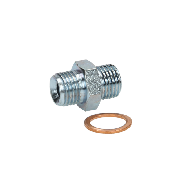 Oil Line Double Male Adaptor 3/8M x 3/8M