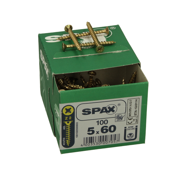 Spax Countersunk Pozi Screws 5.0 x 80mm Box of 100