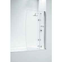Designer Hinged D Bathscreen with Panel 800mm Chrome
