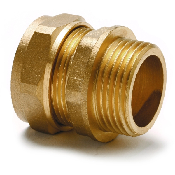 "Adaptor Straight Male 15mm x 1/2"" Copper"