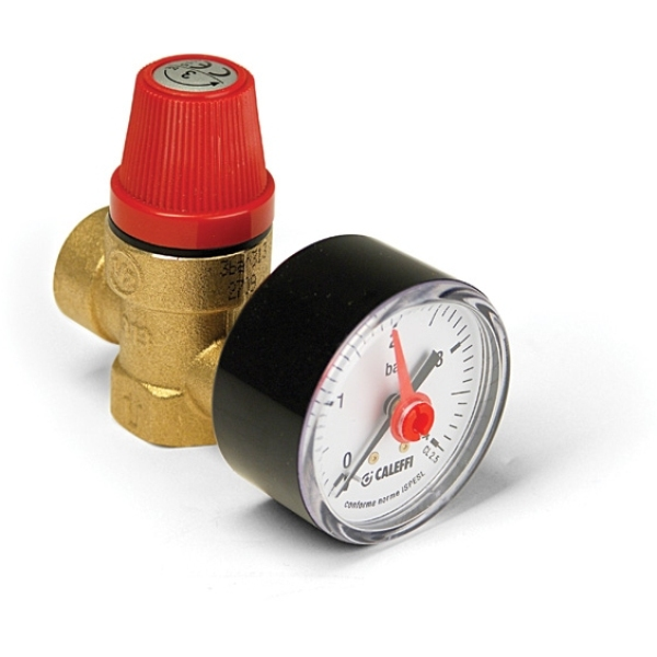 "Altecnic 1/2"" F/F Safety Valve & Gauge"