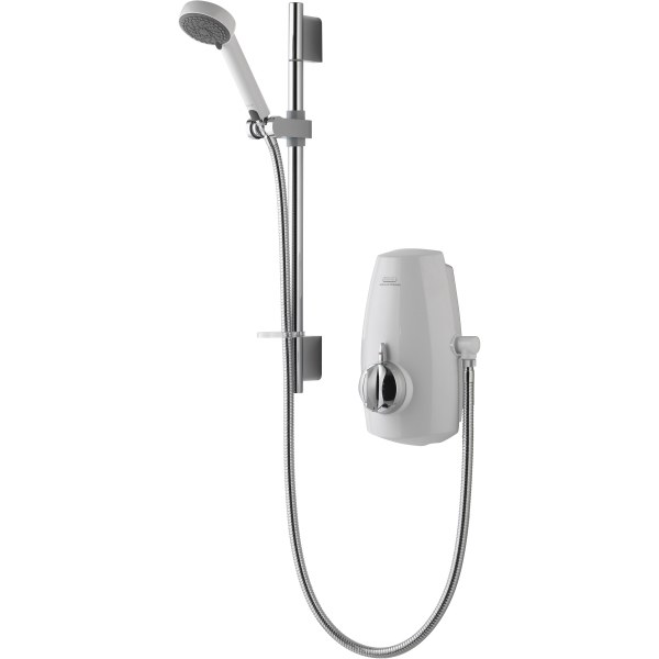 Aqualisa Aquastream Thermostastic Mixer Power Shower with Adjustable Head White/Chrome