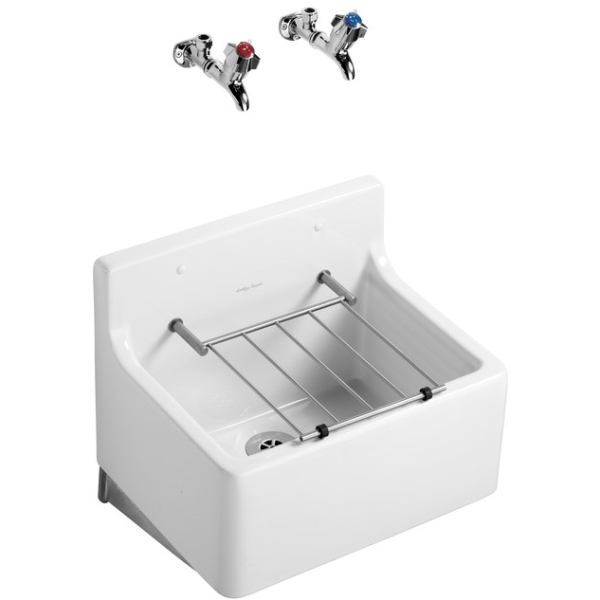 Armitage Shanks Birch Cleaners Sink 51cm With Hardwood Pad & Bucket Grating