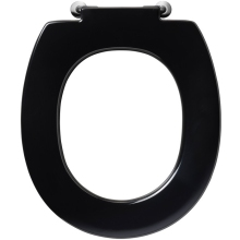 Armitage Shanks Contour 21 Standard Toilet Seat With Retaining Buffers No Cover Bottom Fixing Hinges Black