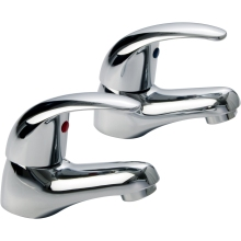 Aura Genoa Basin Taps Pair Chrome Plated
