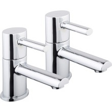 Aura Oval Bath Taps Pair Chrome Plated