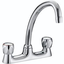 Bristan Club Budget Deck Sink Mixer with Metal Heads - Chrome