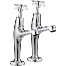 Bristan Cross Top Taps Chrome Plated High Neck Pillar