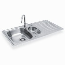 Bristan Inox Easyfit Kitchen Sink 1.5 Bowl Round Steel inc Easyfit Raspberry Tap