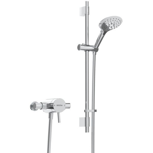 Bristan Prism Exposed Sequential Thermostatic Mixer Shower Valve with Adjustable Riser Kit - Chrome