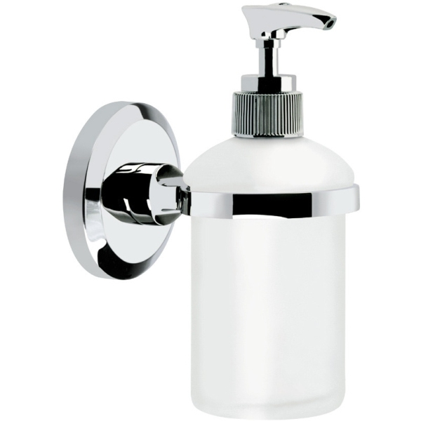 Bristan Solo Wall Mounted Frosted Glass Soap Dispenser - Chrome