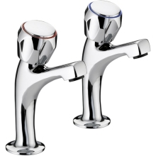 Bristan Value Club High Neck Pillar Taps with Metal Heads 135mm Chrome