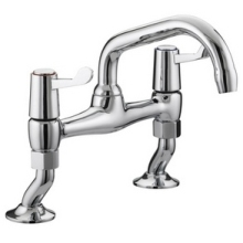 Bristan Value Lever Pillar Bridge Sink Mixer Chrome Plated With Ceramic Disc Valves