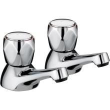 Club Basin Taps with Metal Heads Chrome