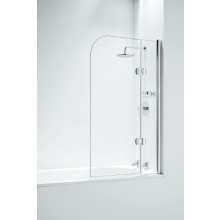 Coram Designer Hinged Curved Bath Screen (5mm) 1400mm x 800mm - Chrome