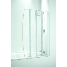 Coram Folding 4 Panel Bath Screen (4mm) 1400mm x 865mm - White