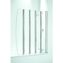Coram Frameless Folding Bathscreen Plain Glass/Chrome 5 Panel 1060mm