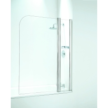 Coram Frameless 1050mm Curved Bathscreen (With Panel) - Plain Glass/White