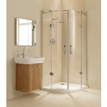Coram Premier Frameless Hinged Quadrant 900mm - Plain Glass/Chrome