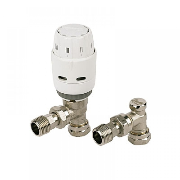 Danfoss 15mm Reversible Angle TRV With Built-in Sensor And Matching Lockshield Valve