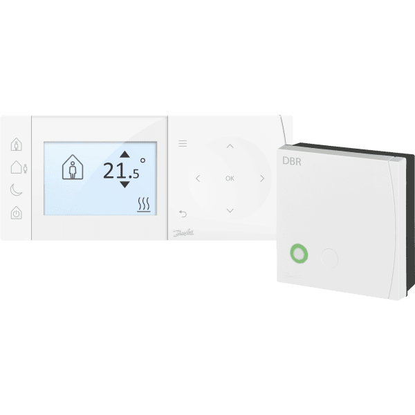 Danfoss TPOne - S + DBR, RF & WiFi, Mains Powered Programmable Room Thermostat and Receiver