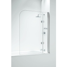 Designer Hinged Curved Bathscreen with Panel 1050mm Chrome