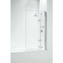 Coram Designer Hinged Square Bath Screen (5mm) 1400mm x 800mm - Chrome