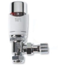 Drayton TRV4 15mm Angled Chrome with Lockshield Valve