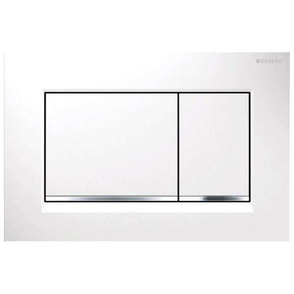 Geberit Flush Plate Sigma30 For Dual Flush: White, Matt Chrome-Plated