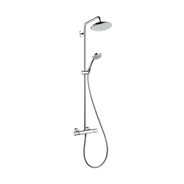 Hangrohe Croma 220 Showerpipe with Thermostatic Shower Mixer