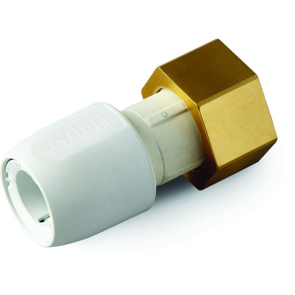 "Hep2O Straight Tap Connector with Brass Nut 0.75""x22mm White"