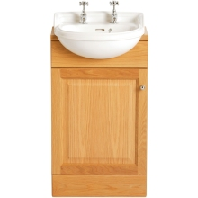 Heritage Dorchester Cloakroom Semi-Recessed Basin 2 Taphole White Semi Recessed Tap
